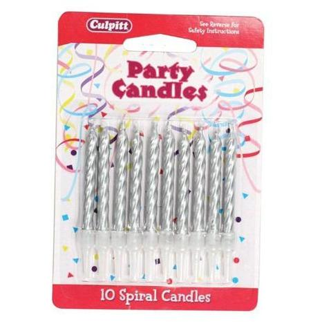 10 Silver Spiral Candles