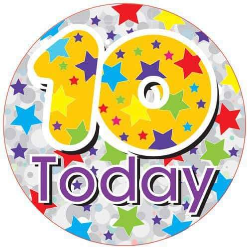 10 Today Holographic Party Badge