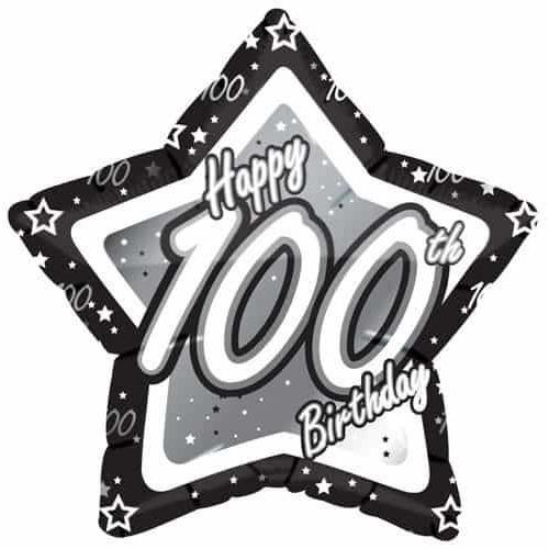 100th Birthday Black And Silver Star Foil Balloon