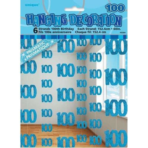 100th Birthday Blue Glitz Hanging Decoration