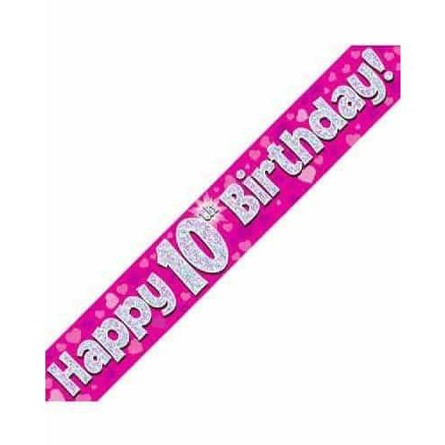 10th Birthday Pink Holographic Banner