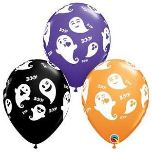 "11"" Emoticon Ghosts Latex Balloons 25pk"
