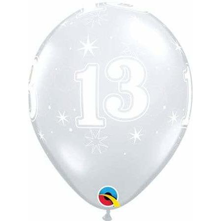 11 Inch 13th Clear Sparkles Latex Balloons