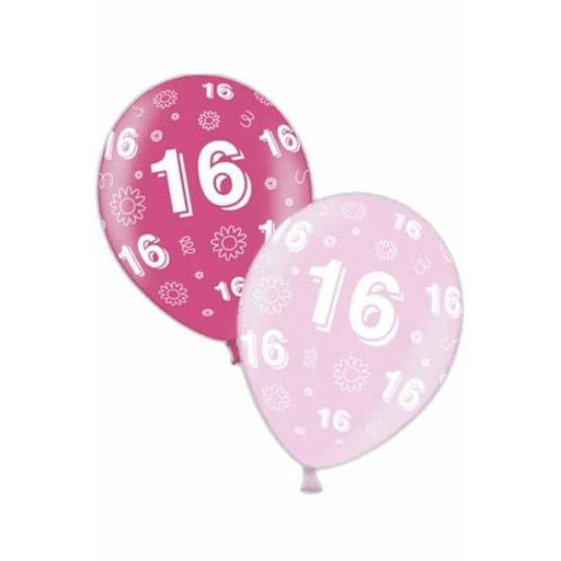 11 inch 16th Birthday Pink Latex Balloons 25pk