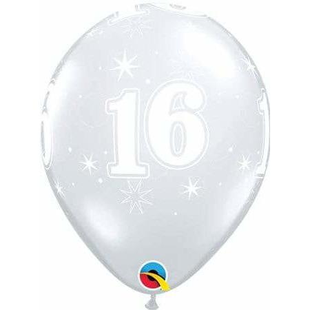 11 Inch 16th Clear Sparkles Latex Balloons