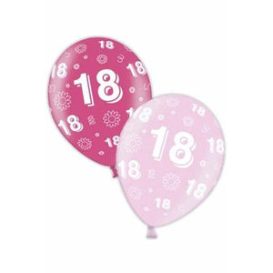 11 Inch 18th Birthday Pink Latex Balloons 25pk