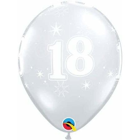 11 Inch 18th Clear Sparkles Latex Balloons