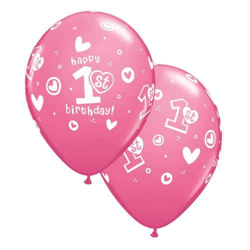 11 Inch 1st Birthday Circle Hearts Girl Latex Balloons 25pk
