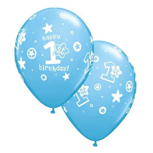 11 Inch 1st Birthday Circle Stars Boy Latex Balloons 25pk