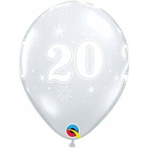 11 Inch 20th Clear Sparkles Latex Balloons