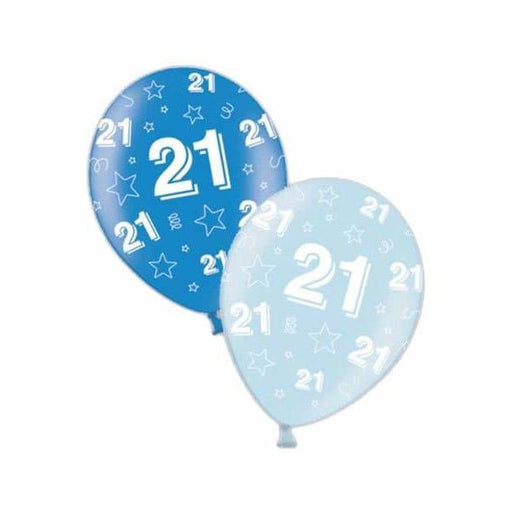 11 Inch 21st Birthday Blue Latex Balloons 25pk