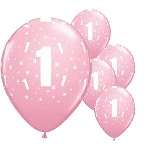 11 Inch Age 1 Pale Pink Stars Latex Balloons 6pk