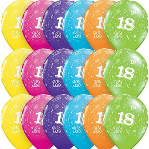 11 Inch Age 18 Tropical Assorted Latex Balloons 6pk