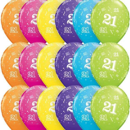 11 Inch Age 21 Tropical Assorted Latex Balloons 6pk