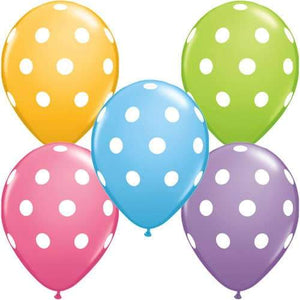 11 Inch Big Polka Dots Assorted Latex Balloons 50pk
