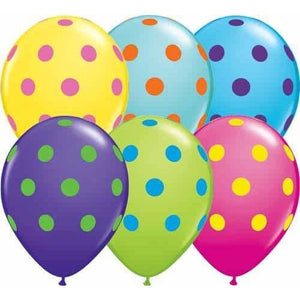 11 Inch Big Polka Dots Colourful Latex Balloons 50pk