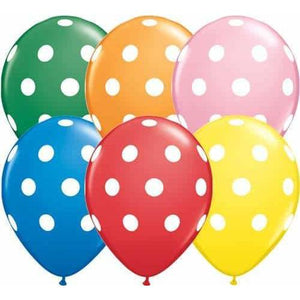11 Inch Big Polka Dots Standard Assorted Latex Balloons 50pk