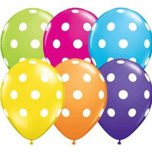 11 Inch Big Polka Dots Tropical Assorted Latex Balloons 50pk