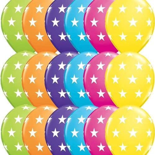 11 Inch Big Stars Tropical Assorted Latex Balloons 25pk