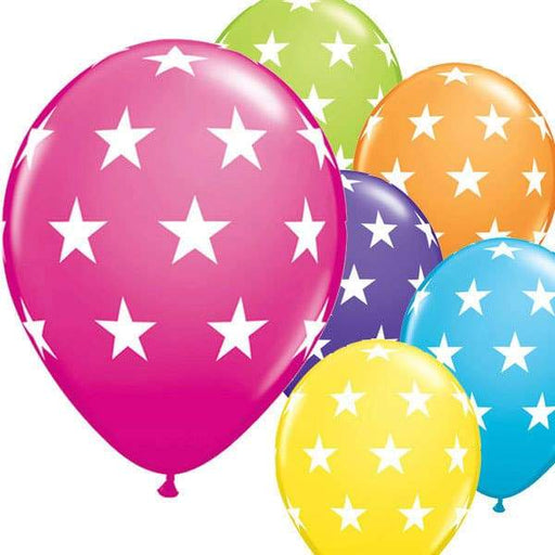 11 Inch Big Stars Tropical Assorted Latex Balloons 6pk