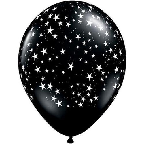 11 Inch Black Stars A Round Latex Balloons 25pk