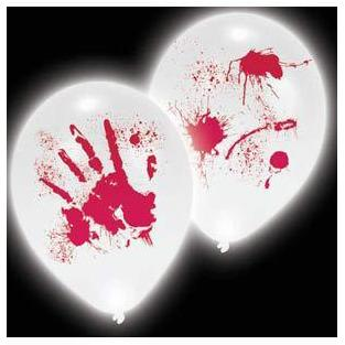 11 Inch Bloody Hand Prints LED Latex Balloons 4pk