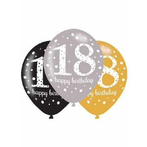 11 Inch Gold Celebration 18th Latex Balloons 6pk