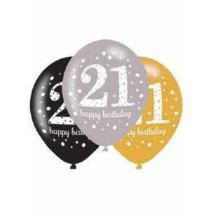 11 Inch Gold Celebration 21st Latex Balloons 6pk
