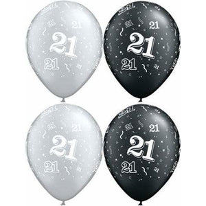 11 Inch Happy 21st Birthday Assorted Latex Balloons 25pk