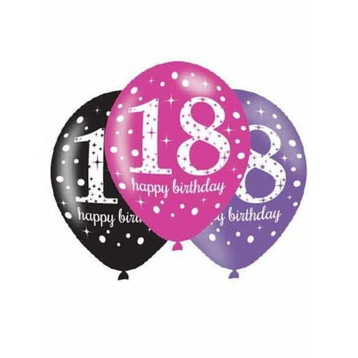 11 Inch Pink Celebration 18th Latex Balloons 6pk