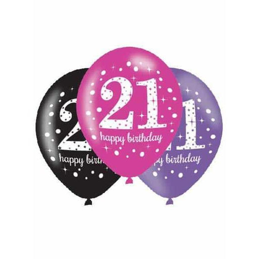 11 Inch Pink Celebration 21st Latex Balloons 6pk