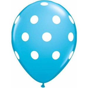 11 Inch Robins Egg Blue Polka Dots Latex Balloons 25pk