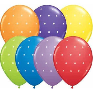 11 Inch Small Polka Dots Assorted Latex Balloons 50pk