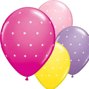 11 Inch Small Polka Dots Female Latex Balloons 6pk