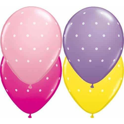 11 Inch Small Polka Dots Girls Assorted Latex Balloons 25pk