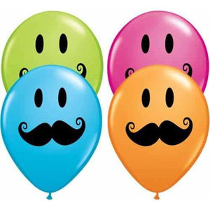 11 Inch Smile Face Moustache Latex Balloons 50pk