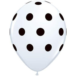 11 Inch White Big Polka Dots Latex Balloons 25pk
