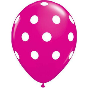 11 Inch Wild Berry Big Polka Dots Latex Balloons 50pk