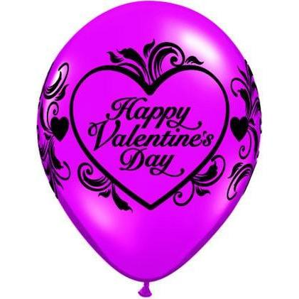 "11"" Jewel Magenta Valentines Filigree Latex Balloons 25pk"
