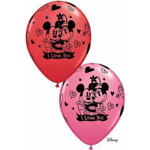 "11"" Mickey And Minnie I Love You Latex Balloons 25pk"