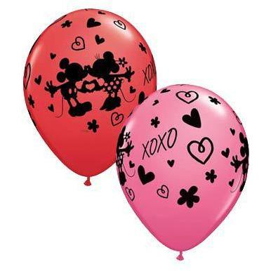 "11"" Mickey And Minnie XOXO Latex Balloons 25pk"