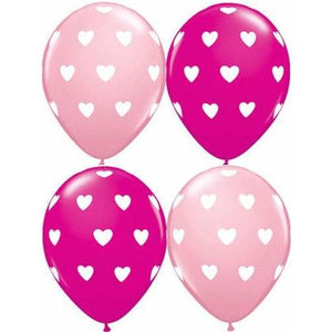 "11"" Pink And Wild Berry Big Hearts Latex Balloons 25pk"