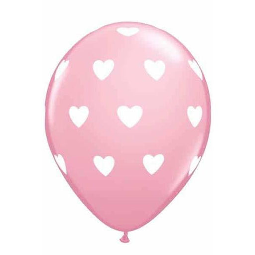 "11"" Pink Big Hearts Latex Balloons 6pk"