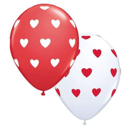 "11"" Red And White Big Hearts Latex Balloons 50pk"