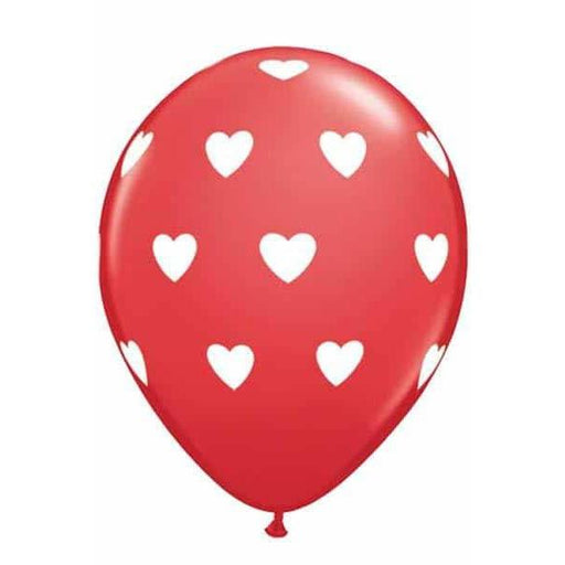 "11"" Red Big Hearts Latex Balloons 6pk"