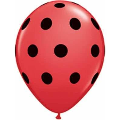 "11"" Red With Black Ink Polka Dots Latex Balloons 25pk"