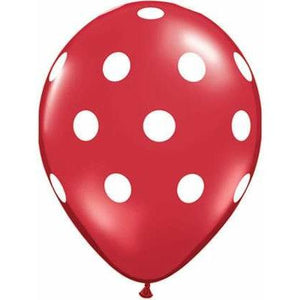 "11"" Red With White Ink Polka Dots Latex Balloons 25pk"