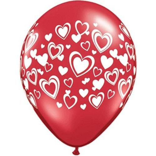 "11"" Ruby Red Double Heart Wrap Latex Balloons 25pk"