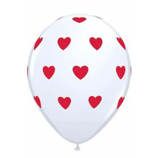 "11"" White Big Hearts Latex Balloons 6pk"