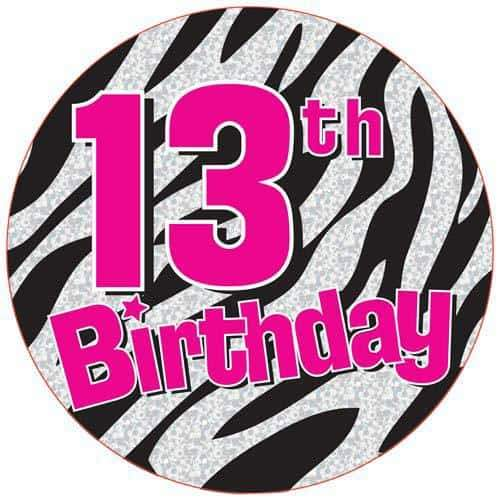 13th Birthday Zebra Party Badge